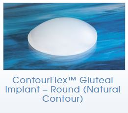 Round Natural Contour shaped silicone butt implant